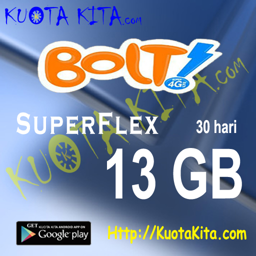 Kuota Internet BOLT - Bolt Quota 13GB , 30 Hari