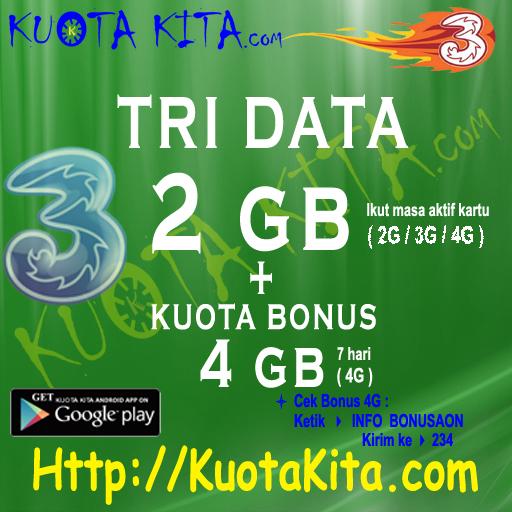 Kuota Internet TRI Data AON (HOT Produk) - TRI 2GB