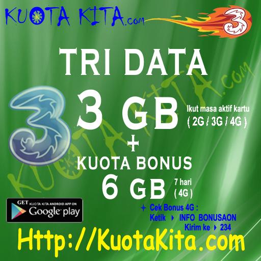 Kuota Internet TRI Data AON (HOT Produk) - TRI 3GB