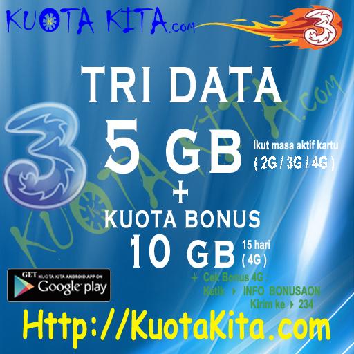 Kuota Internet TRI Data AON (HOT Produk) - TRI 16GB