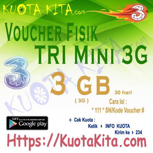 Voucher Fisik Voucher Kuota Tri - Voucher Mini 3GB (All 3G) 30hari