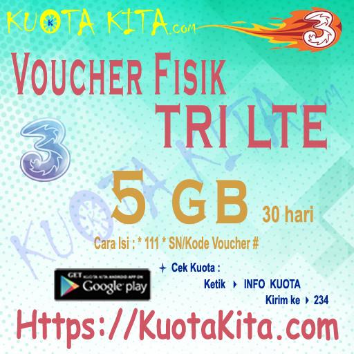 Voucher Fisik Voucher Kuota Tri - Voucher LTE 5GB 4G